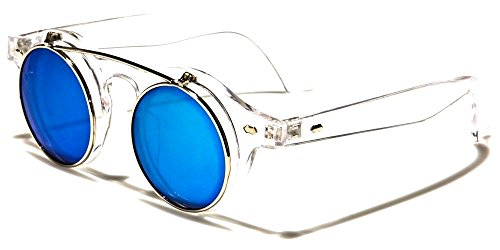 Transparent Frame Silver (Retro Round Flip Up Steampunk Sunglasses (Clear / Transparent & Silver Frame, Blue Iridium Mirror))