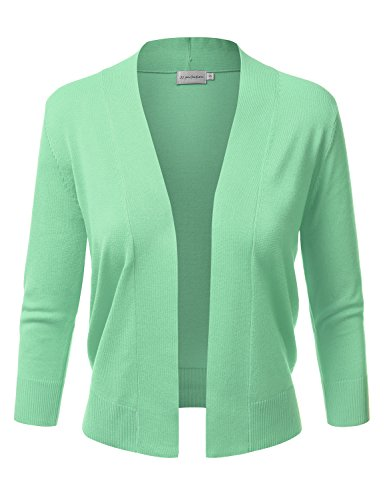 JJ Perfection Women's Basic 3/4 Sleeve Open Front Cropped Cardigan LIGHTMINT L
