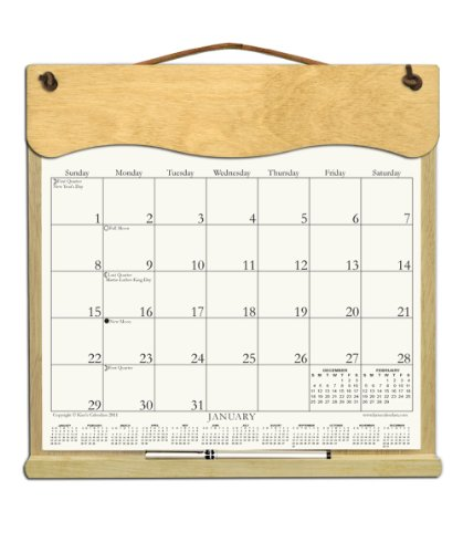 Wooden Refillable Calendar Holder filled with 2018, 2019 and an order form for 2020-NARROW CURVED (Wooden Calendar Holder)