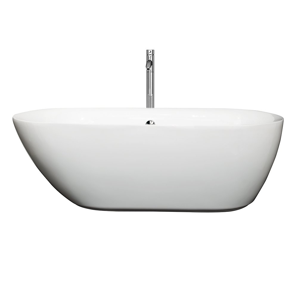 Wyndham Collection Melissa 65 inch Freestanding Bathtub for Bathroom in  White with Polished Chrome Drain and Overflow Trim   Freestanding Bathtubs    Amazon   Wyndham Collection Melissa 65 inch Freestanding Bathtub for  . 60 Inch Freestanding Tub Canada. Home Design Ideas