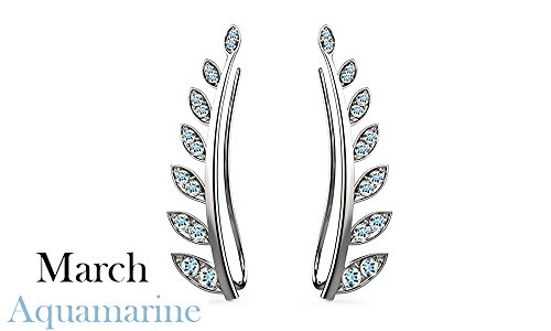 Aquamarine Cuff - Simulated Aquamarine Ear Crawler Cuff Earrings 14k White Gold Over Sterling Silver Climber Studs Olive Leaf