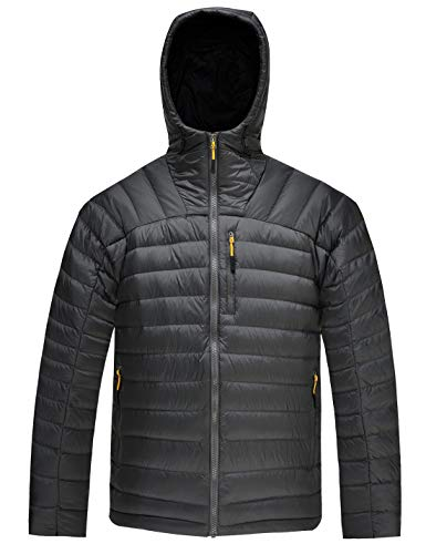 64481c832 HARD LAND Men's Packable Down Jacket Hooded Lightweight Winter Puffer Coat  Outerwear Charcoal Grey Size M