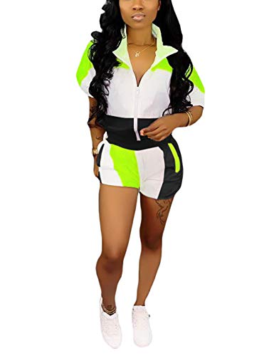 Women Color Block 2 Piece Windbreaker Shorts Sets Half Sleeve Tops and Short Outfit Black XL