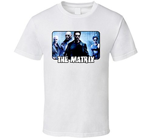 Perfect Fit T Shirts The Matrix Movie Keanu Reeves Group T Shirt L White (Movie Matrix Clothing)