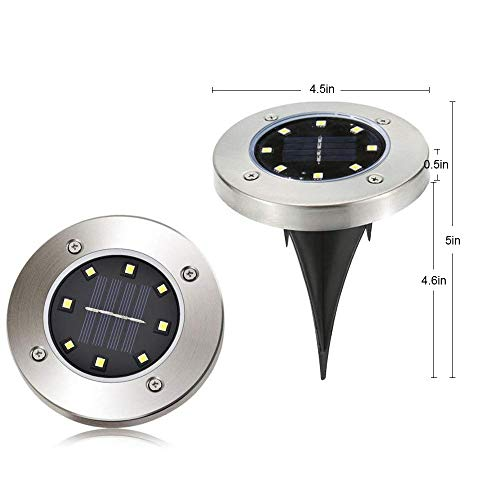 [8 Pack] Solar Ground Lights,Solar Garden Light,8 LED Garden Pathway Outdoor In-Ground Lights,Waterproof Stainless Steel Disk Flood Lights Dark Sensing Landscape Lighting for Lawn Yard Patio -White by HUYHU (Image #1)