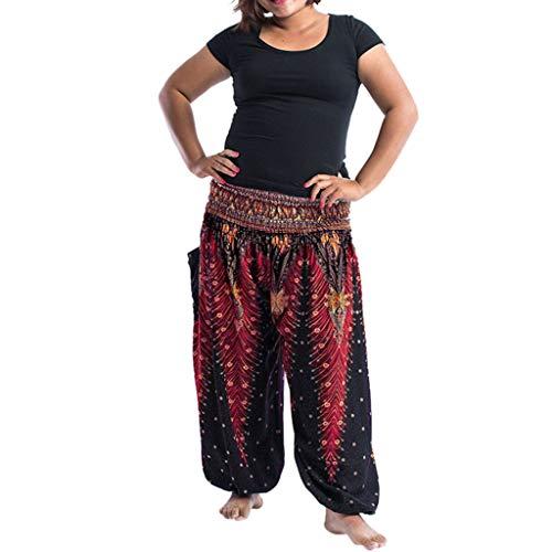 Weiliru Women's Plus Size Smocked Waist Boho Print Aladdin Harem Hippie Yoga Pants Loose Trousers Lounge Pants Jumpsuit ()
