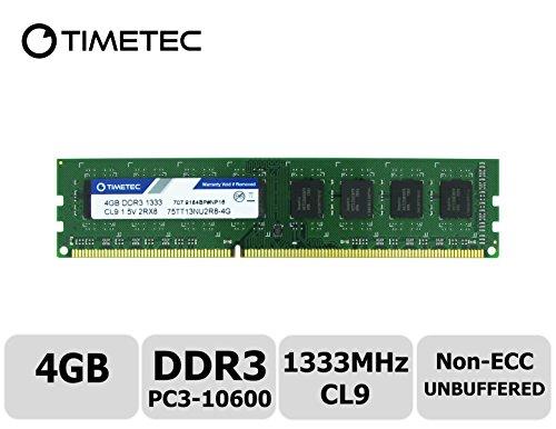 Timetec Hynix IC 4GB DDR3 1333MHz PC3-10600 Non ECC Unbuffered 1.5V CL9 2R8 Dual Rank 240 Pin UDIMM Desktop PC Computer Memory Ram Module Upgrade (Low Density 4GB) by Timetec