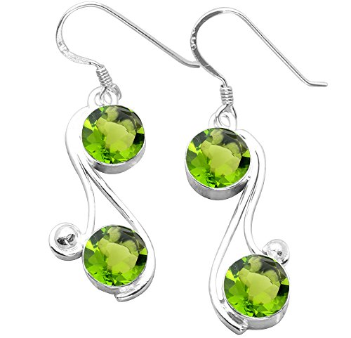 8.00ctw, Simualted Peridot Quartz & 925 Silver Plated Dangle Earrings Made By Sterling Silver - Peridot 8mm Sterling Plated