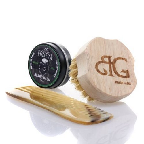 Beard Gains Pocket Bundle Kit - Pristine Luxury Original Cologne Scented Beard Care, Wooden Boars Hair Brush and Horn Comb (1oz)