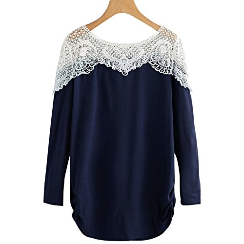Fancathy Women's Lace T Shirt Contrast Hollow Out Crochet Shirts Long Sleeve Patchwork Blouse Ladies Spring Autumn Tunic