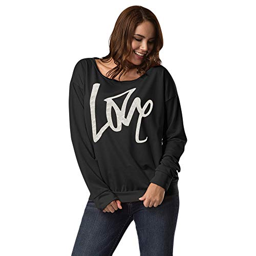 TUSANG Fashion Sexy Love Women Letter Long Sleeve Tops Blouse Pullover Strapless Sweatshirt Jumper(Black,S) -