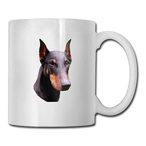Novelty Doberman Pinscher Face Coffee Mug - 11 Oz Sublimation Ceramic Tea Cup White
