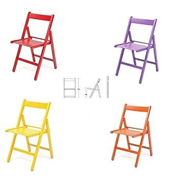 4 sillas plegables, de colores, de madera barnizada, para ...