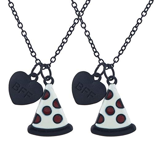Lux Accessories Black Pizza Slice Emoji BFF Best Friend Heart Forever Charm Necklace Set of (Best Lux Accessories Friend Necklaces For 4 Girls)