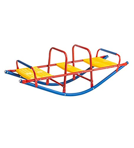 Kid's Metal Rocking Seesaw Teeter Totter with Handlebars, Weather Resistant Backyard Playground Equipment, Max Weight 140 lbs