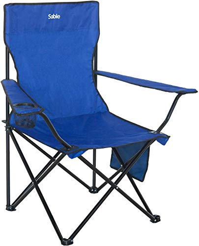アウトドア チェア 折りたたみ Sable ハイバック キャンプ用椅子 耐荷重120kg フィッシングチェア 背もたれ付き 収束式 携帯便利 軽量 収納バッグ・ドリンクホルダー付き SA-HF018