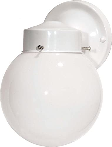 Nuvo SF76 704 Porch Wall Fixture with Globe, Gloss White