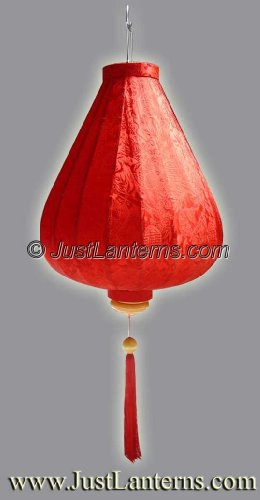 Vietnamese Silk Lantern- Large Tear Drop (Rich Red)