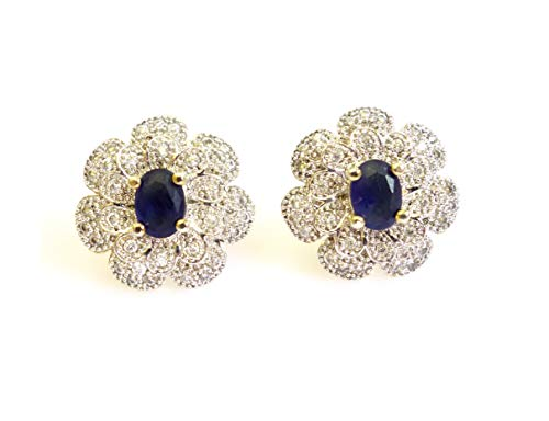 BLUE SAPPHIRE AND ZIRCON GEMSTONE 22CT GOLD PLATED FLOWER SHAPE DESIGNER FASHION STUD EARRINGS FOR WOMEN AND GIRLS ()