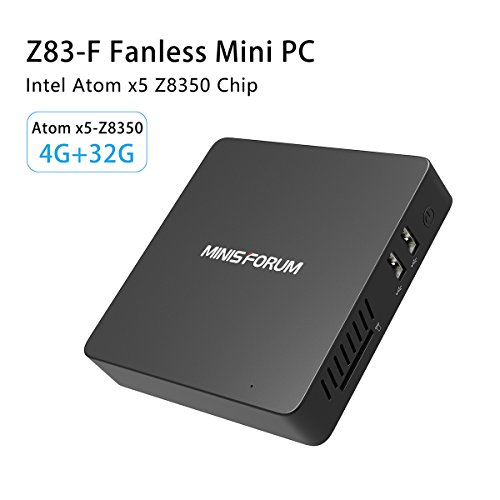 Z83-F Fanless Mini PC Desktop, Windows 10 64-Bit Intel Atom x5-Z8350 (2M Cache,up to 1.92 GHz) HD Graphics/DDR3L 4GB/32GB/4K/2.4G+5.8G Dual Band WiFi/1000Mbps LAN/BT4.0 [Dual Output – HDMI&VGA]