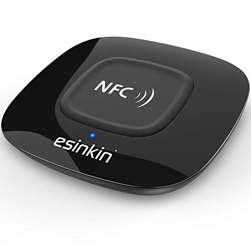 Esinkin Bluetooth Receiver Wireless, NFC-Enabled Audio Adapter 4.0 for HD Home Stereo Music Streaming Sound System for 3.5mm (AUX and RCA) (Home Audio Connector)