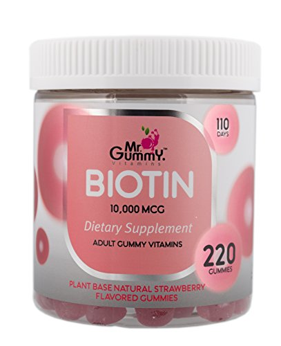 Mr Gummy Vitamins Biotin Supplement for Men & Women | 10.000 mcg, Supports Healthy Hair & Nail Growth & Metabolism | [220 Gummies, 110-Day Supply] | for Men and Women
