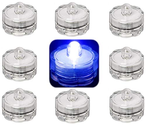 Trendmart Bright Led Underwater Submersible Waterproof Floral Decoration Tea Light Candle for Wedding/party / Xmas Decoration ( Blue12 Pcs )
