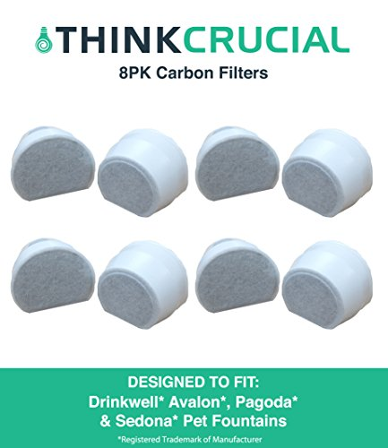 8 Drinkwell Carbon Filters Fit Avalon, Pagoda & Sedona Pet Fountains, Designed & Engineered by Think Crucial