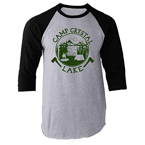 Pop Threads Camp Crystal Lake Counselor T Shirt Horror Costume Black M Raglan Baseball Tee Shirt (Friday The 13th Best Counselor)