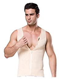 Men Slimming Top Tank Body Shaper Fitness Thermo Sweat Neoprene Zipper Shapewear