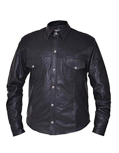 Unik International Mens Premium Lightweight Leather Motorcycle Shirt with Buffalo Nickle Snaps 3XL