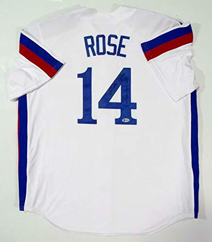 (Autographed Pete Rose Jersey - White w 4256 JSA W Auth *Black - Beckett Authentication - Autographed MLB Jerseys)
