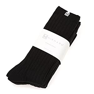 MIRMARU Women's Everyday 4Pairs Solid Colors Cotton Blend Casual Crew Socks.(Black)