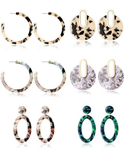 Tornito 6 Pairs Mottled Hoop Earrings Acrylic Resin Drop Dangle Earring Bohemian Statement Stud Earrings for Women Girl (Style A01)