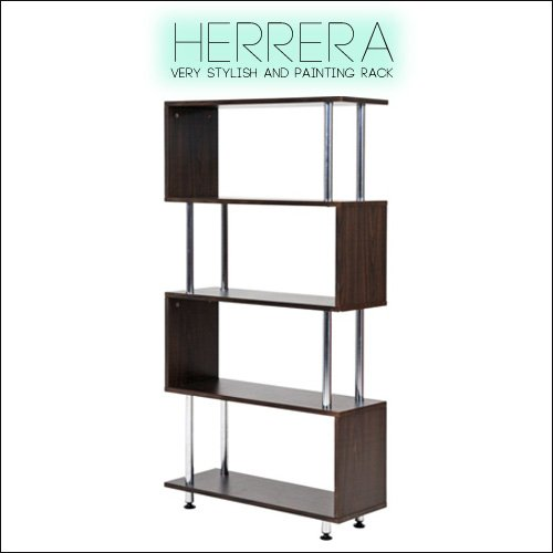 オープンラック 5段 Herrera エレーラ S字ラック オープンシェルフ 木製 スチール 約 幅80 ラック シェルフ ブラウン おしゃれ モダン デザインラック ディスプレイシェルフ B07B4X52H1