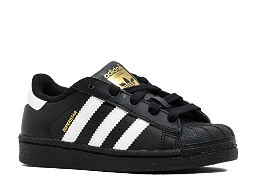 adidas  Boys Superstar C, Black/White/Gold Metallic, 12 M US Little Kid