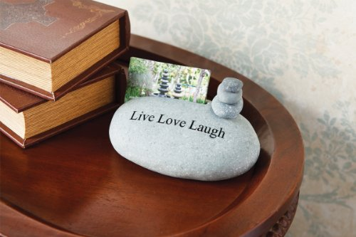 Live Love Laugh Engraved Rocks Cairn Business Card Holder Stand Unique Gift Ideas For Business ()