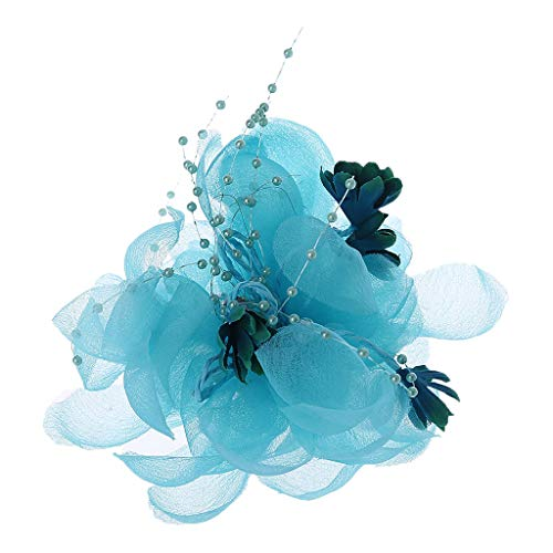 - Richi Womens Bridal Lace Flower Hair Clip Faux Crystal Beaded Party Brooch (Sky Blue)