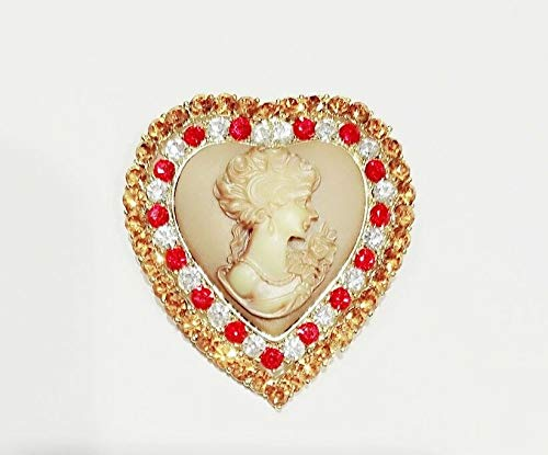 Brown Red Crystal Cameo Love Brooch Pendant ()