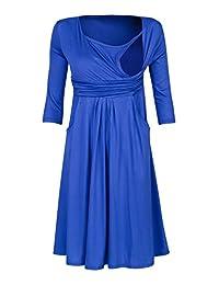Happy Mama Womens Maternity Nursing 2in1 Skater Dress 3/4 Sleeves Pockets. 848p