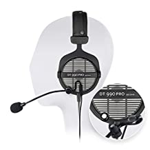 Beyerdynamic DT 990 Pro 250 Ohm Open Studio Headphone Bundle -INCLUDES- Antlion Audio ModMic Attachable Boom Microphone - Noise Cancelling with Mute Switch AND Blucoil Y Splitter