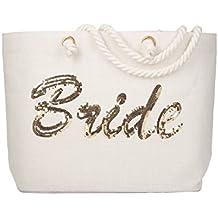 ElegantPark Bride Tote Bag Gold Sequin Wedding Bridal Shower Bachelorette Gift 100% Jute with Handle and Interior Pocket