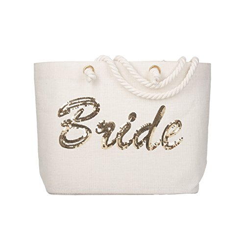 ElegantPark Bride Tote Bag Gold Sequin Wedding Bridal Shower Bachelorette Gift 100% Jute with Handle and Interior - Sunglasses Beach Wedding