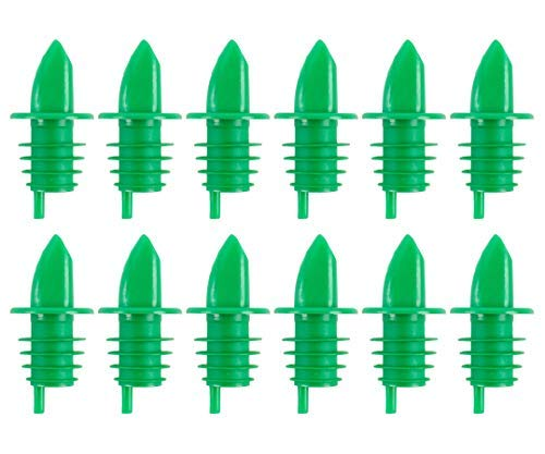 (Pack of 12) Green Free-Flow Liquor Pourer, Bottle Pour Spouts by Tezzorio (Green Liquor)