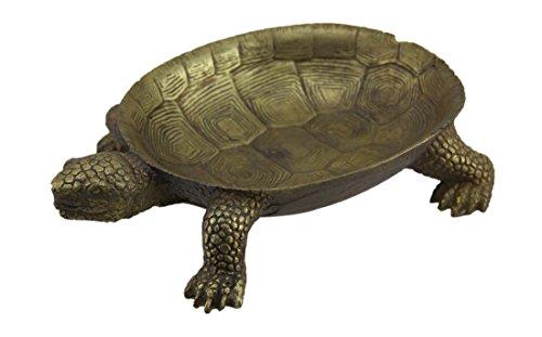 Tortoise Finish (Zeckos Resin Decorative Bowls Gold Leaf Finish Turtle Decorative Centerpiece Dish 9.25 X 2 X 6.5 Inches Gold)