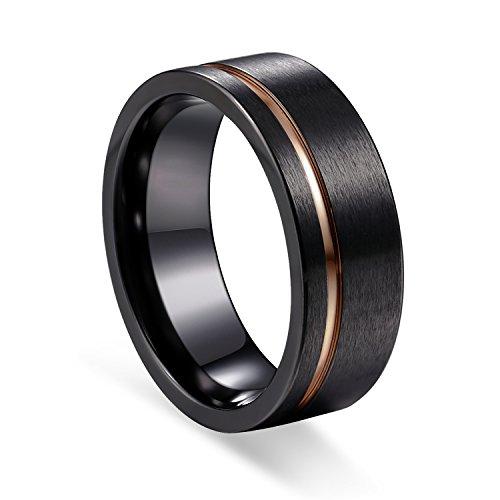 TUSEN JEWELRY Black Zirconium Ring Men's Wedding Band Rose Gold Stripe Comfort Fit 8mm Size:11.5