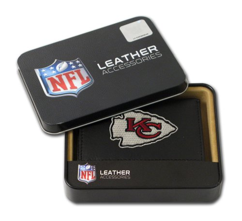 NFL Kansas City Chiefs Embroidered Genuine Leather Trifold (Tri Fold Wallet Nfl Football)