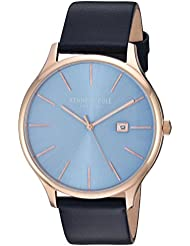 Kenneth Cole New York Mens Classic Quartz Stainless Steel and Leather Dress Watch, Color:Blue (Model: KC15096002)