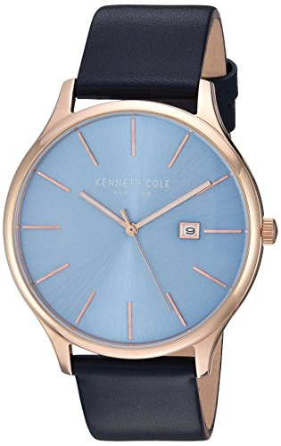 Kenneth Cole New York Men's 'Classic' Quartz Stainless Steel and Leather Dress Watch, Color:Blue (Model: KC15096002)