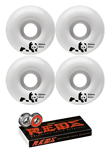 (Enjoi Skateboards 53mm Whitey Panda Skateboard Wheels Bones Bearings - 8mm Bones Reds Precision Skate Rated Skateboard Bearings - Bundle 2 Items)